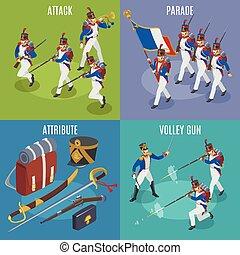napoleon's, icone, illustrazione, 2x2, grenadiers, isometrico, fondo, isolato