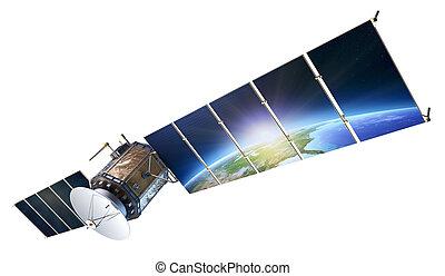 nasa), questo, (, immagine, comunicazioni, riflettere, terra, isolato, elementi, 3d, bianco, solare, satellite, pannelli, ammobiliato