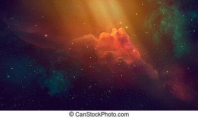 nasa., spazio, interpretazione, scene., coloful, elementi, nebulosa, starfield., ammobiliato, 3d