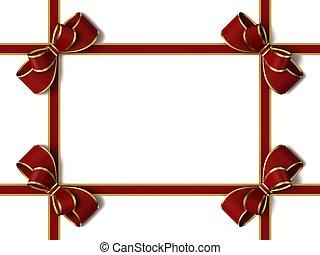 nastro, bow., regalo, rosso