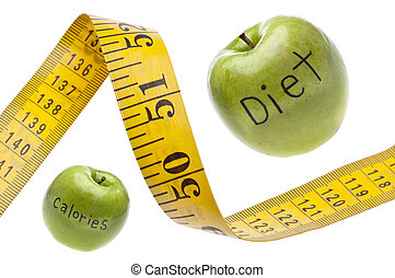 nastro di misura, concetto, calorie, dieta