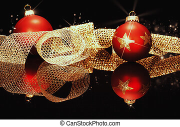 nastro, nero, metallo, palle, natale, brillare, stelle, dorato, specchio, rosso