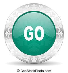 natale, andare bottone, verde, icona