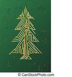 natale, circuito, albero