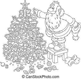 natale, decorare, claus, santa