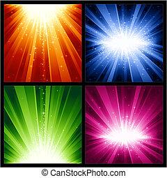 natale, esplosioni, festivo, stelle, luce, anni, nuovo