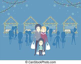 natale, famiglia, mercato, illustrazione