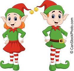 natale felice, cartone animato, coppia, elfo
