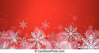 natale, fondo, effetto, fiocchi neve, luce rossa