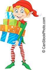 natale, illustrazione, elfo