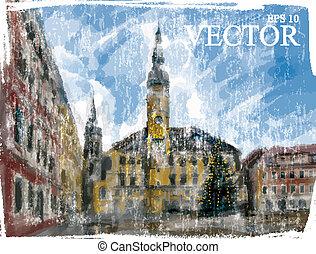 natale, illustrazione, strada., città