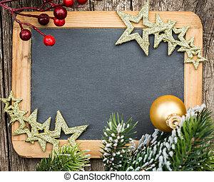 natale, inverno, spazio, legno, vendemmia, concept., vuoto, albero, incorniciato, vacanze, testo, decorations., ramo, lavagna, copia, tuo