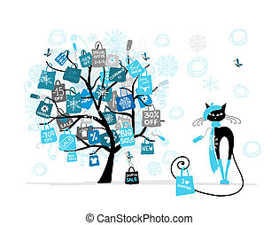 natale, moda, shopping, albero, vendita, gatto, borsa, disegno, tuo