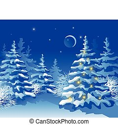 natale, notte, foresta, inverno