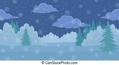 natale, paesaggio, inverno, notte, foresta