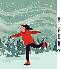 natale, poco, scena, snowscape, pattinaggio, ragazza