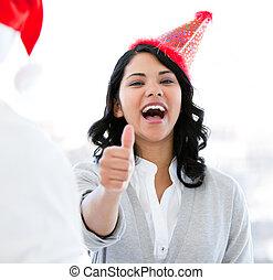 natale, positivo, celebrare, pollice-in, donna d'affari