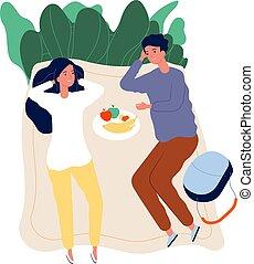 natura, bibite, rilassante, tempo, illustrazione, esterno, picnic., insieme., vettore, spendere, coppia, datazione, cibo, attività