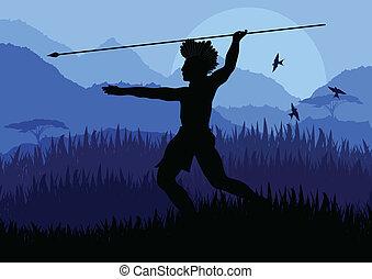 natura, cacciatore, fondo, africano, selvatico, paesaggio, nativo