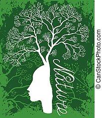 natura, donna, albero.