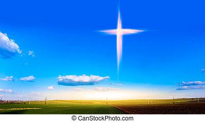 natura, fondo, religione, drammatico, celeste, croce, simbolo, forma
