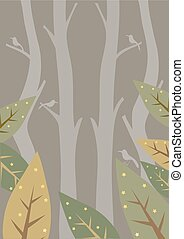 natura, foresta, disegno