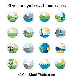 natura, symdols, paesaggio, collection., icone