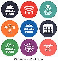 naturale, cibo, simbolo., icons., halal, pasto