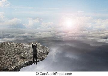 naturale, cielo, mano, clou, luce giorno, appendere, uomo affari, scogliera