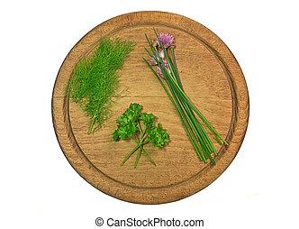 naturale, erbe, tagliere, assortimento, spezie