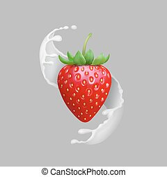 naturale, illustration., fragola, schizzo, frutta, realistico, vettore, prodotti, latte