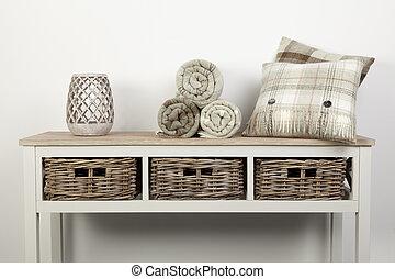 naturale, legno, tiri, vimine, bianco, cuscini, ornamenti, stile, tavola, cesti, colorato, credenza