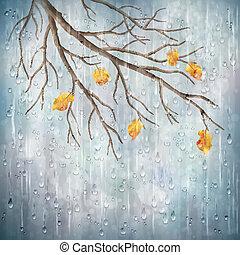 naturale, pioggia, autunno, vettore, disegno, artistico, tempo