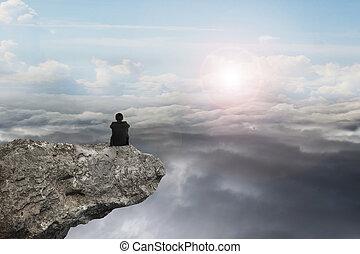 naturale, seduta, cielo, luce giorno, cloudscap, uomo affari, scogliera