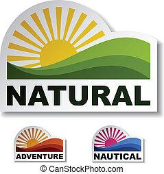naturale, vettore, adesivi, avventura, nautico