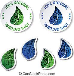 naturale, vettore, adesivi