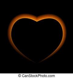 naturalistico, scuro, illustrazione, fuoco, cuore, fondo.