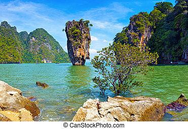 nature., isola tropicale, vista, james, vincolo, paesaggio, tailandia