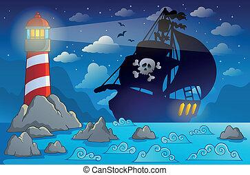 nave, 2, silhouette, pirata, costa