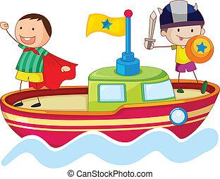 nave, bambini, gioco