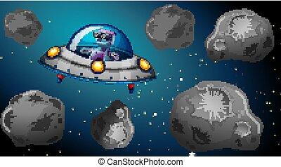 nave, robot, spazio