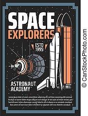 navetta, astronave, accademia, esploratori, spazio, galassia