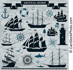 navi vela, set, elements., disegno, nautico
