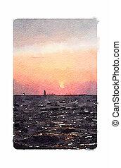 navigazione, barca vela, watercolour, tramonto, digitale, pittura
