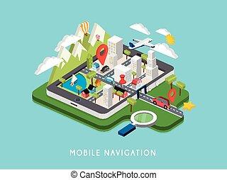 navigazione, mobile, illustrazione, isometrico, appartamento, 3d