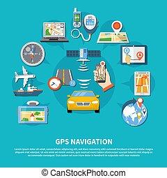 navigazione, sistema, fondo, gps