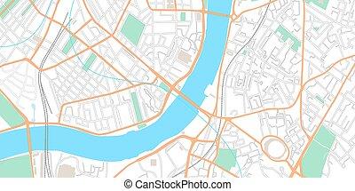 navigazione, strade, parchi, città, strada, illustrazione, mockup, gps, città, centro, map., application., layout., centro, piano, tracciato, cima, fiume, urbano, vettore, topografia, vista