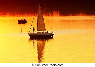 navigazione tramonto