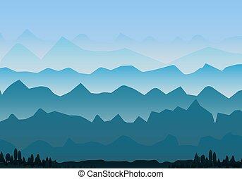 nebbioso, paesaggio, montagne