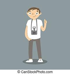 neck., appendere, vettore, cartone animato, photocamera., intorno, fotografo, uomo macchina fotografica